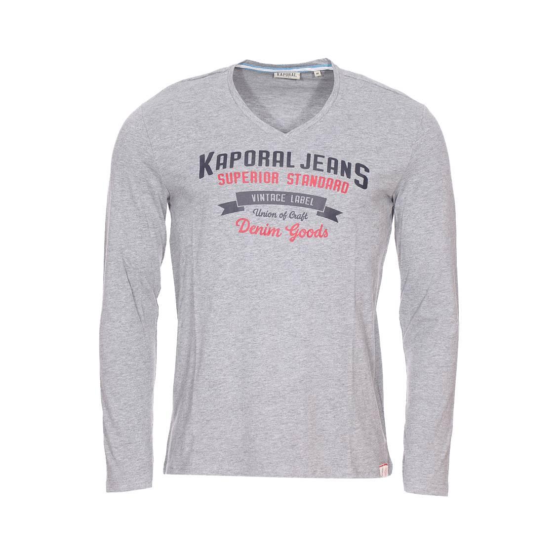 Tee-shirt col v manches longues  farto en coton mélangé gris chiné floqué