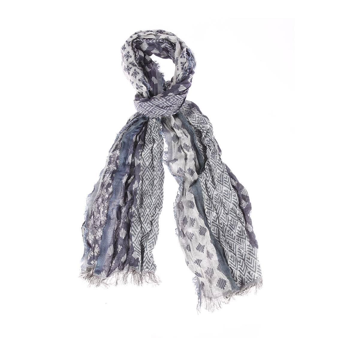 Chèche  foley en coton bleu indigo et blanc à motifs fantaisies