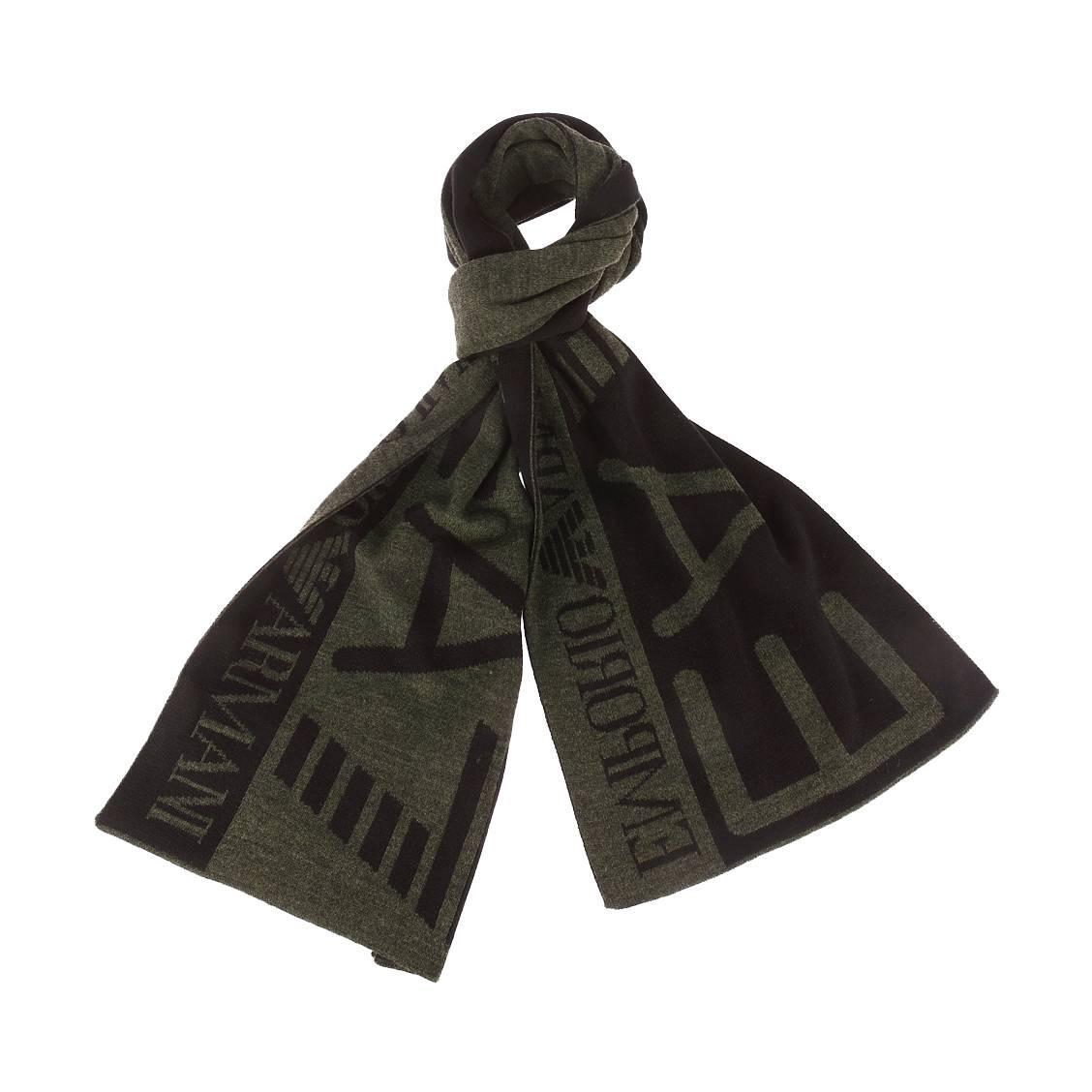 Echarpe  noire et vert foncé chiné