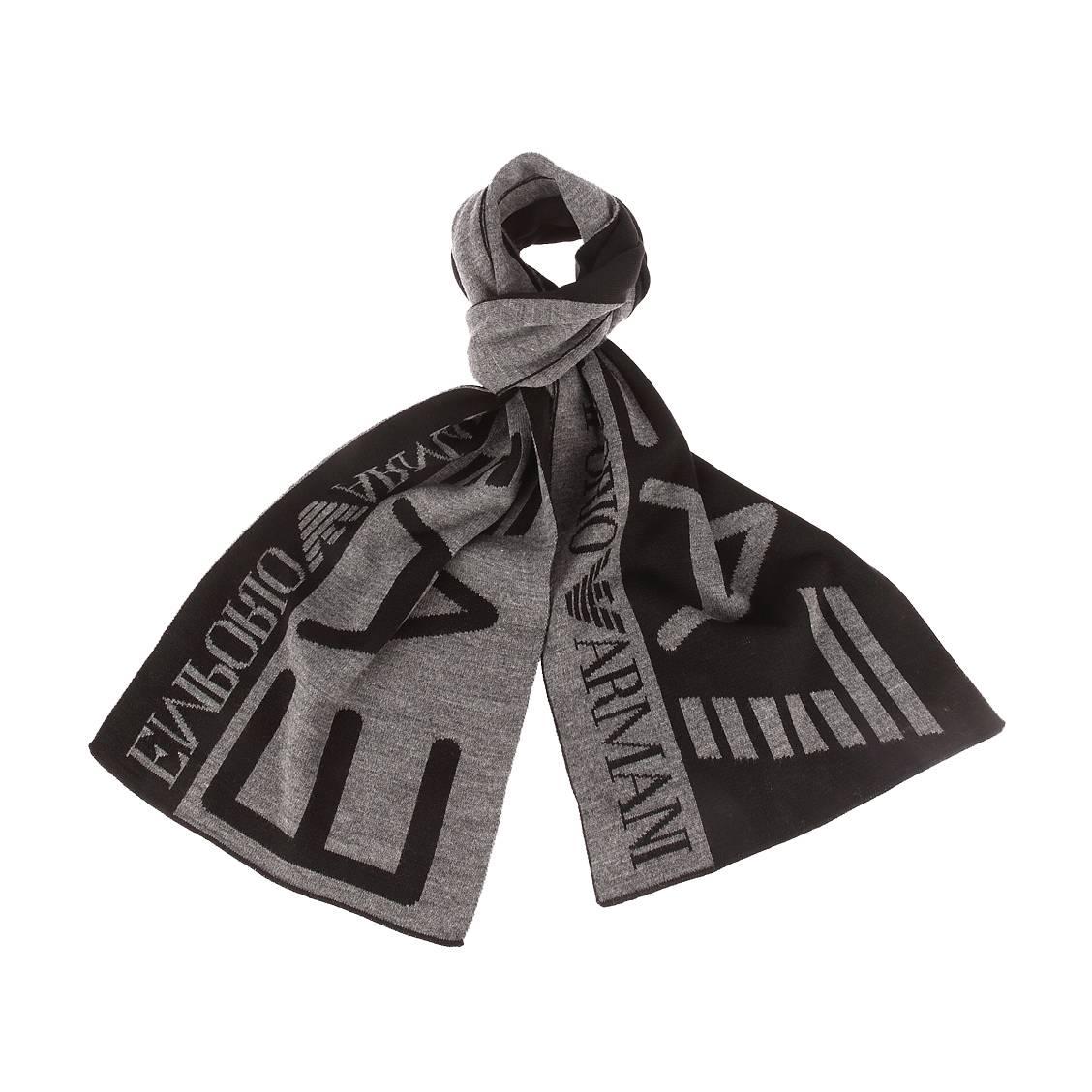Echarpe  noire et gris chiné