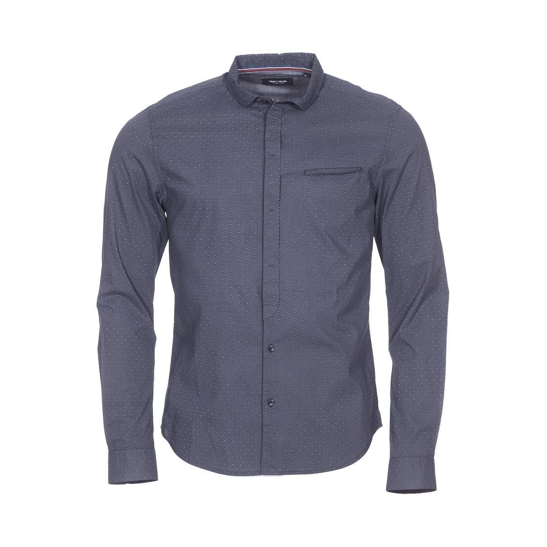 Chemise ajustée  crezus en coton noir à motifs gris anthracite et blancs