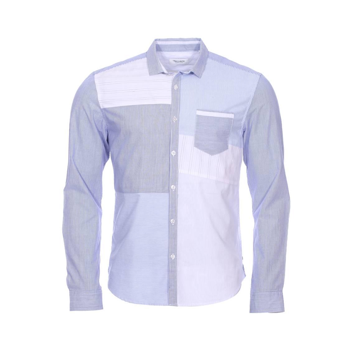 Chemise ajustée  chrome en coton à rayures blanches et bleues en patchwork