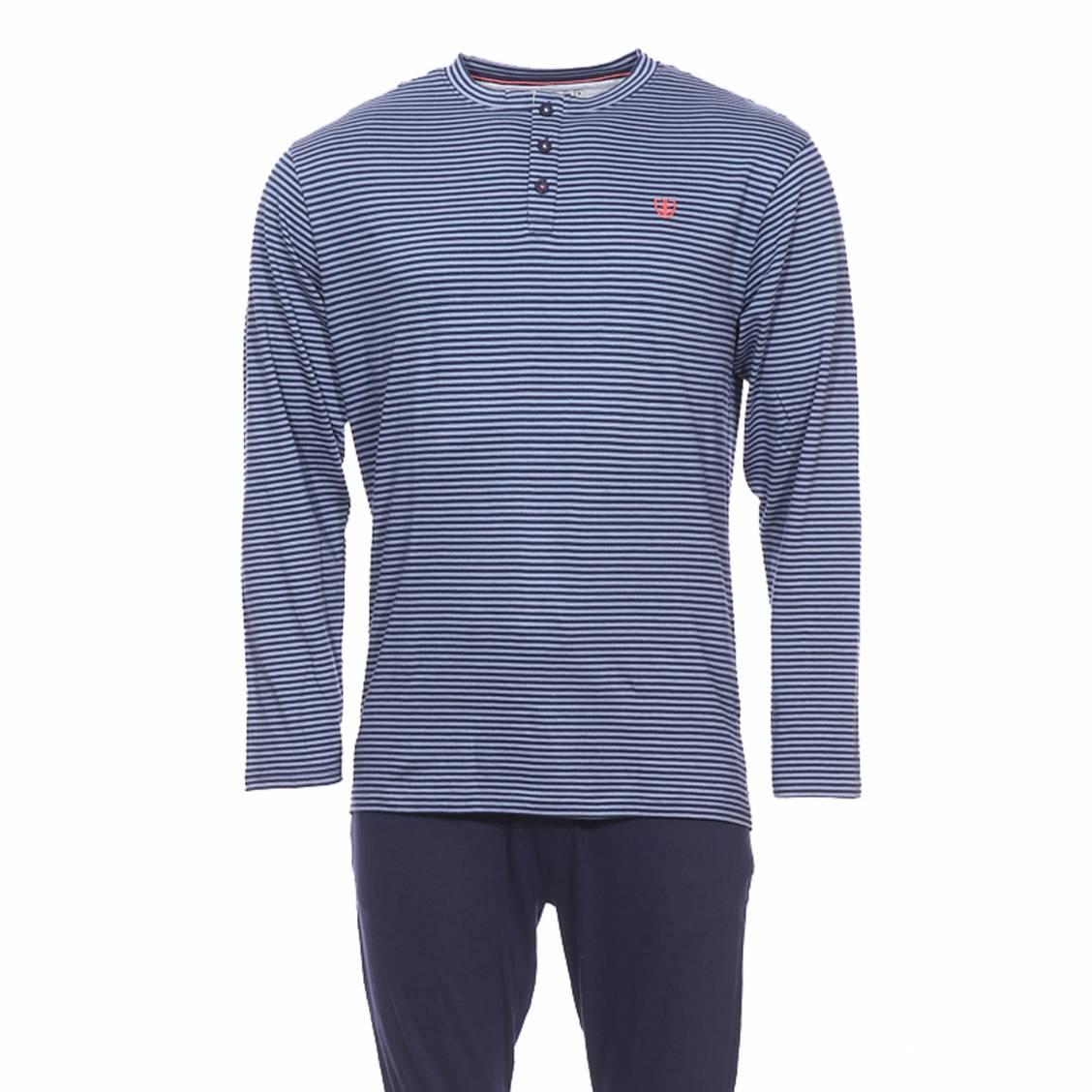 0e02695caa79 Pyjama long Mariner en jersey de coton   tee-shirt manches longues col  tunisien à ...