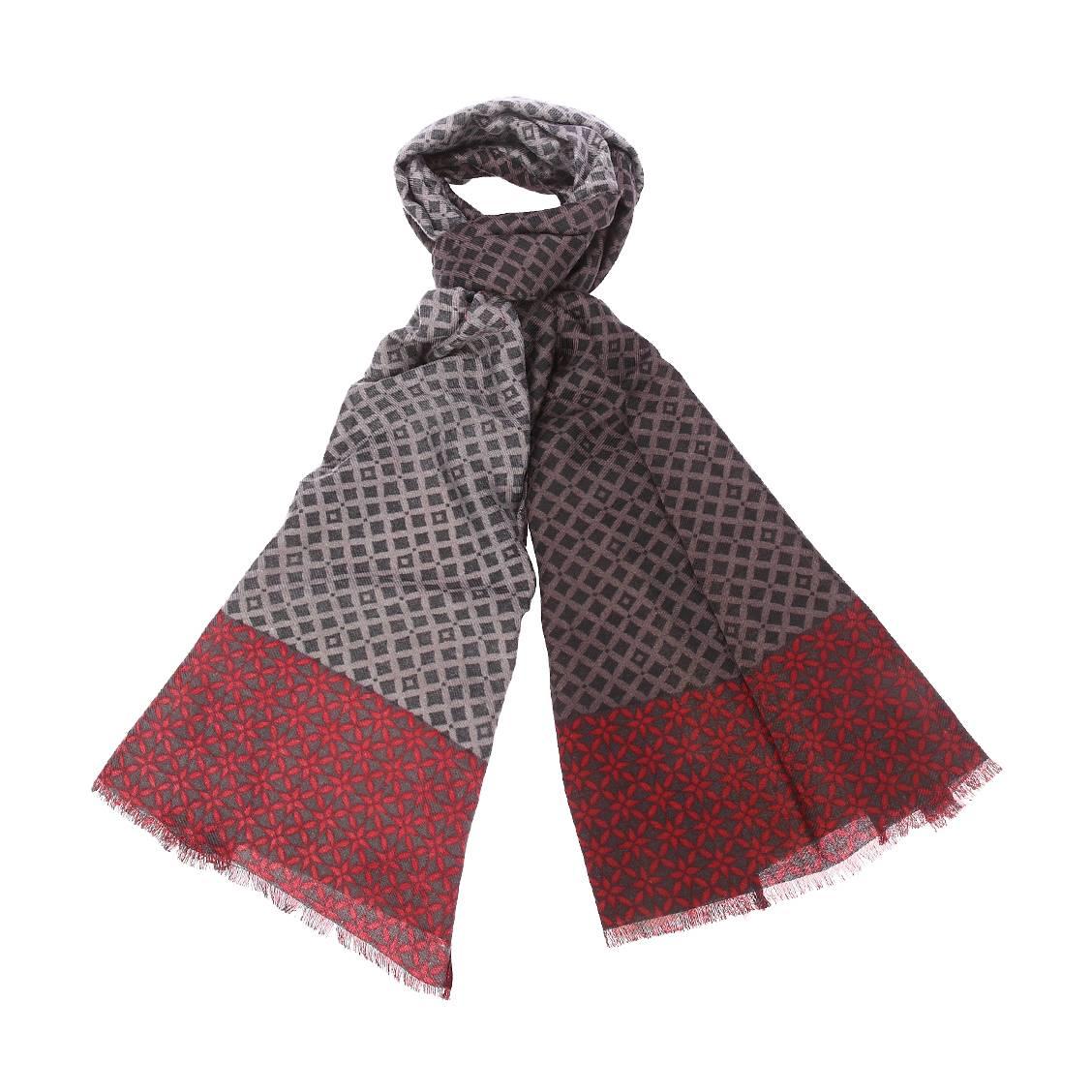 Chèche jean chatel gris anthracite à motifs noirs et extrémités à motifs rouges