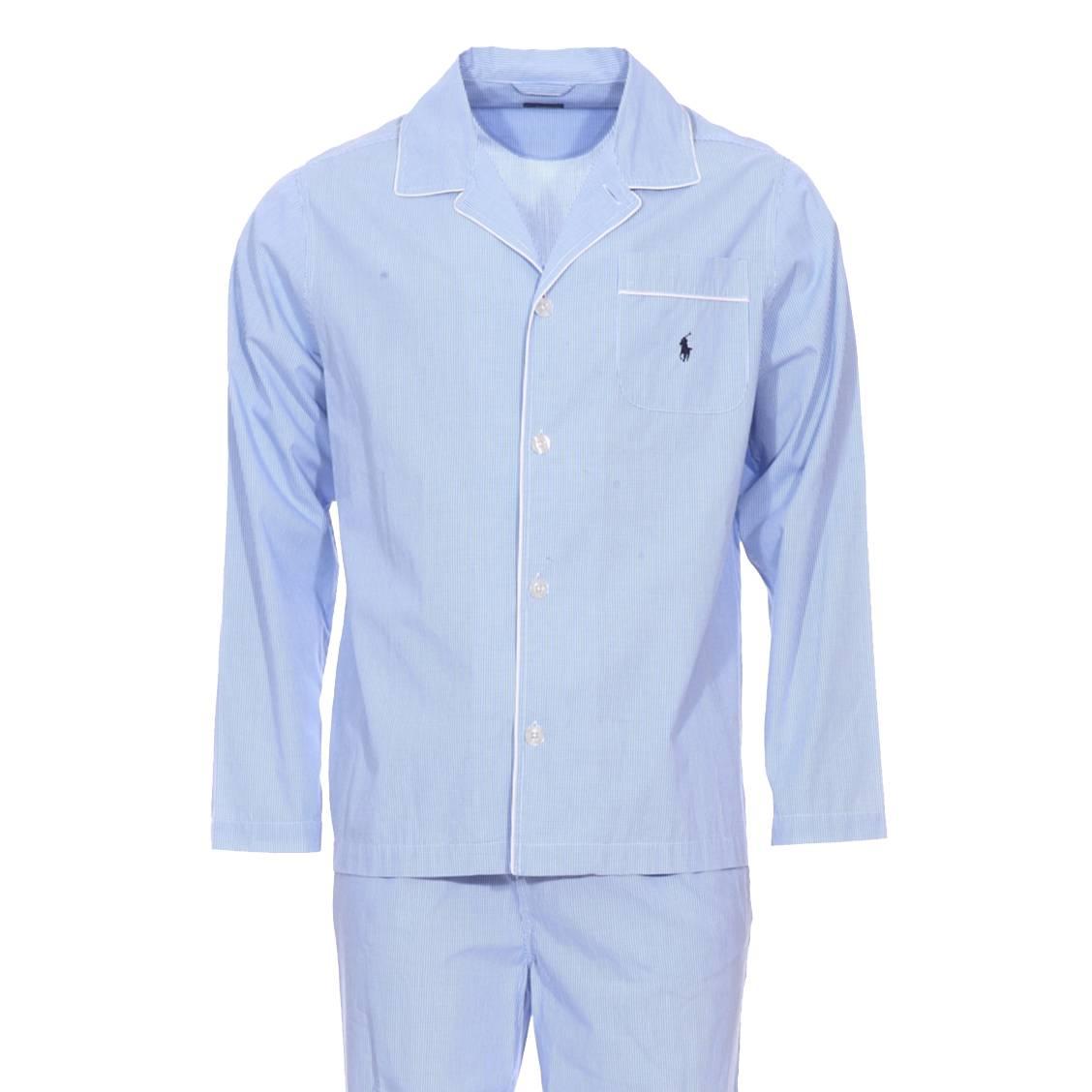 Pyjama long  en popeline de coton vichy bleu ciel