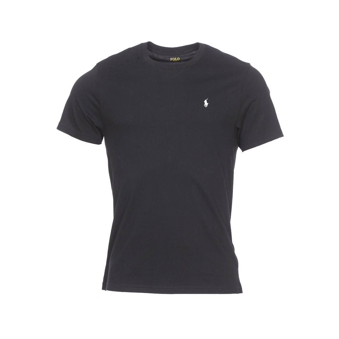Tee-shirt col rond  en coton noir à logo blanc brodé
