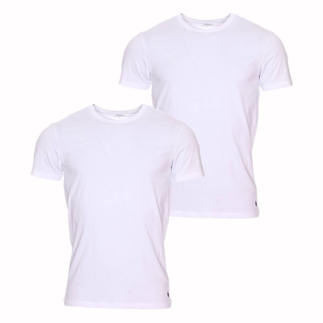 b07c5760a7c90 Lot de 2 tee-shirts col rond Polo Ralph Lauren en coton blanc à logo ...