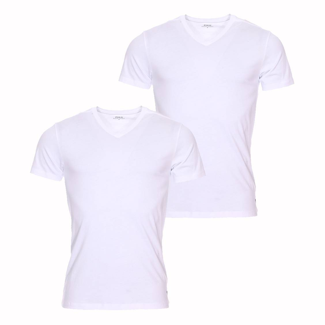 lot de 2 tee shirts col v polo ralph lauren en coton blanc. Black Bedroom Furniture Sets. Home Design Ideas