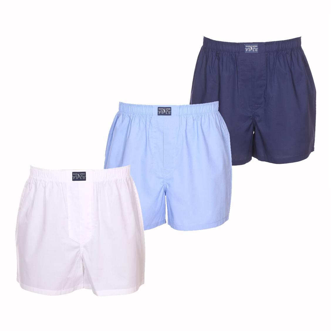 Lot de 3 caleçons coupe standard  en coton blanc, bleu ciel et bleu marine