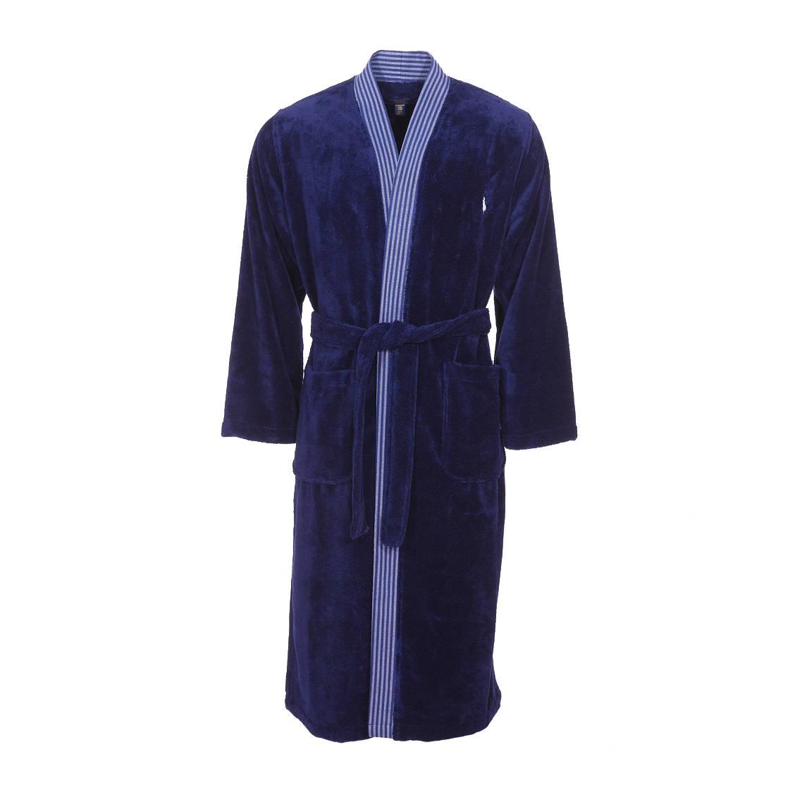 Kimono de bain  en éponge de coton bleu marine