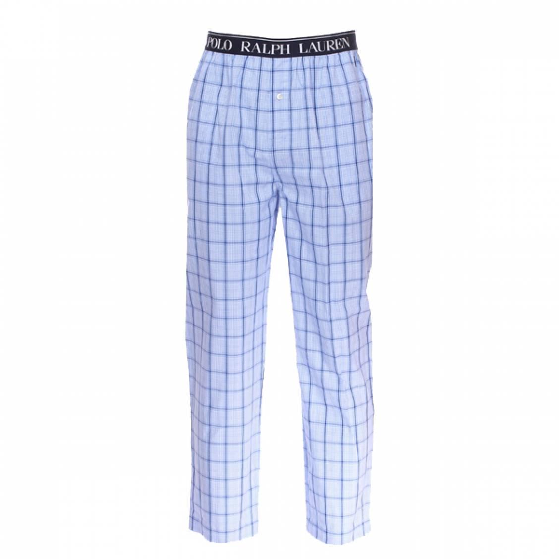 c8a1d3a721 Pantalon de pyjama Polo Ralph Lauren en popeline de coton bleu ciel à  carreaux bleu marine