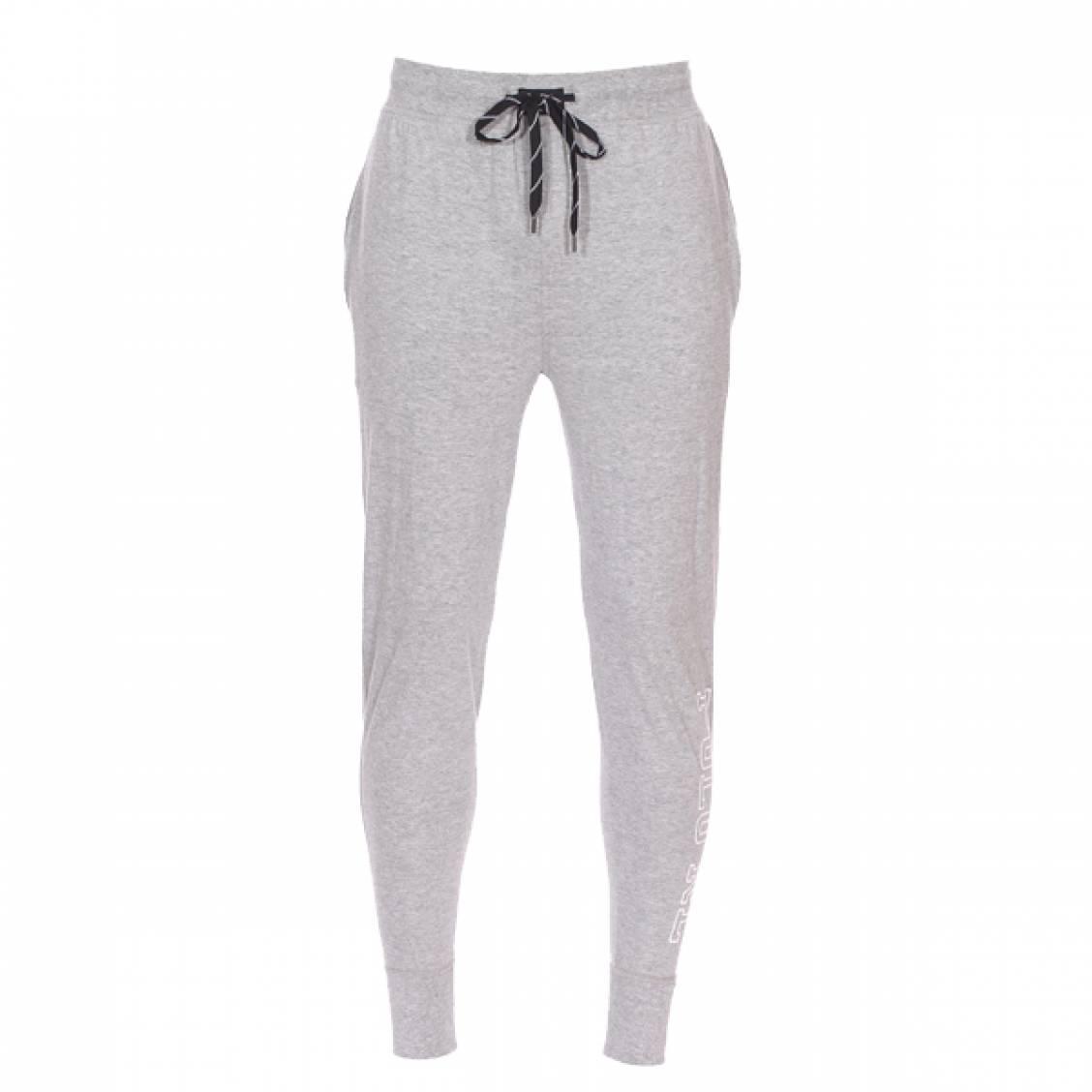Pantalon de jogging léger  en coton gris chiné floqué