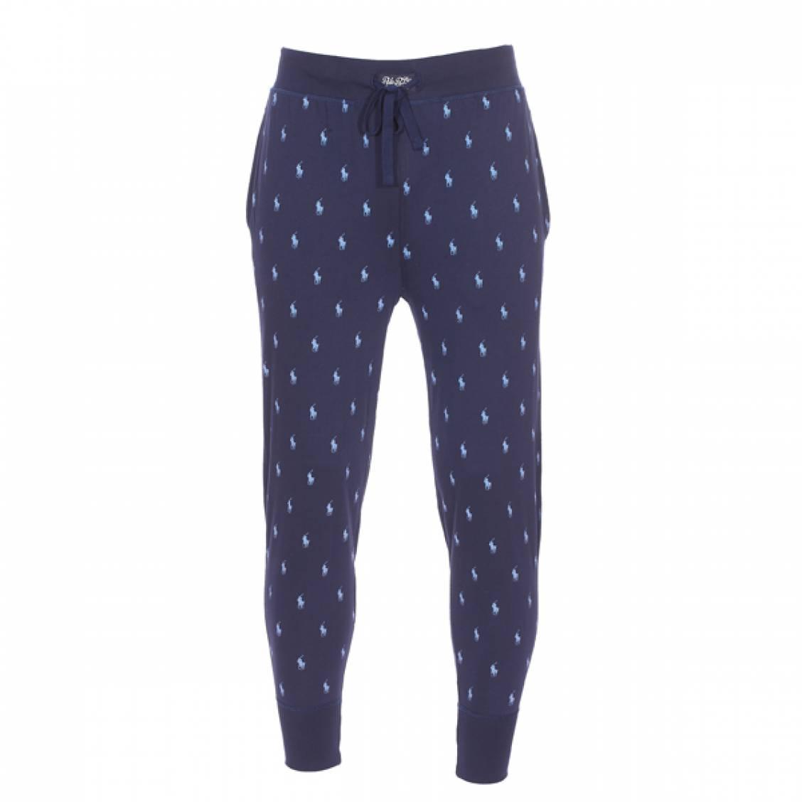 Pantalon de jogging léger  en coton bleu marine logotypé en bleu ciel