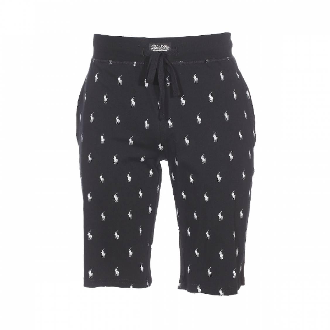 Short de pyjama  en coton noir logotypé en blanc