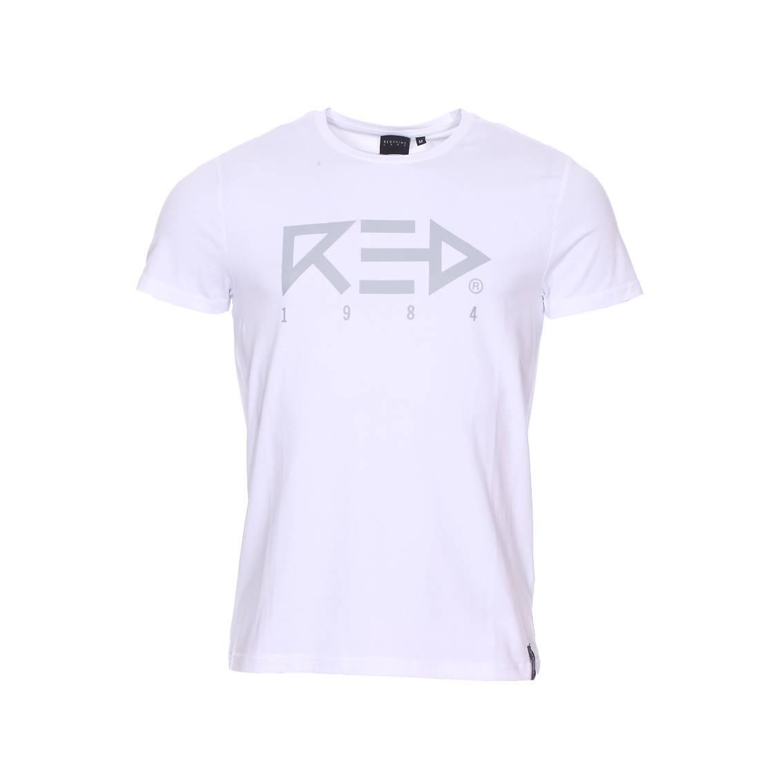 Tee-shirt col rond  arrow en coton stretch blanc floqué