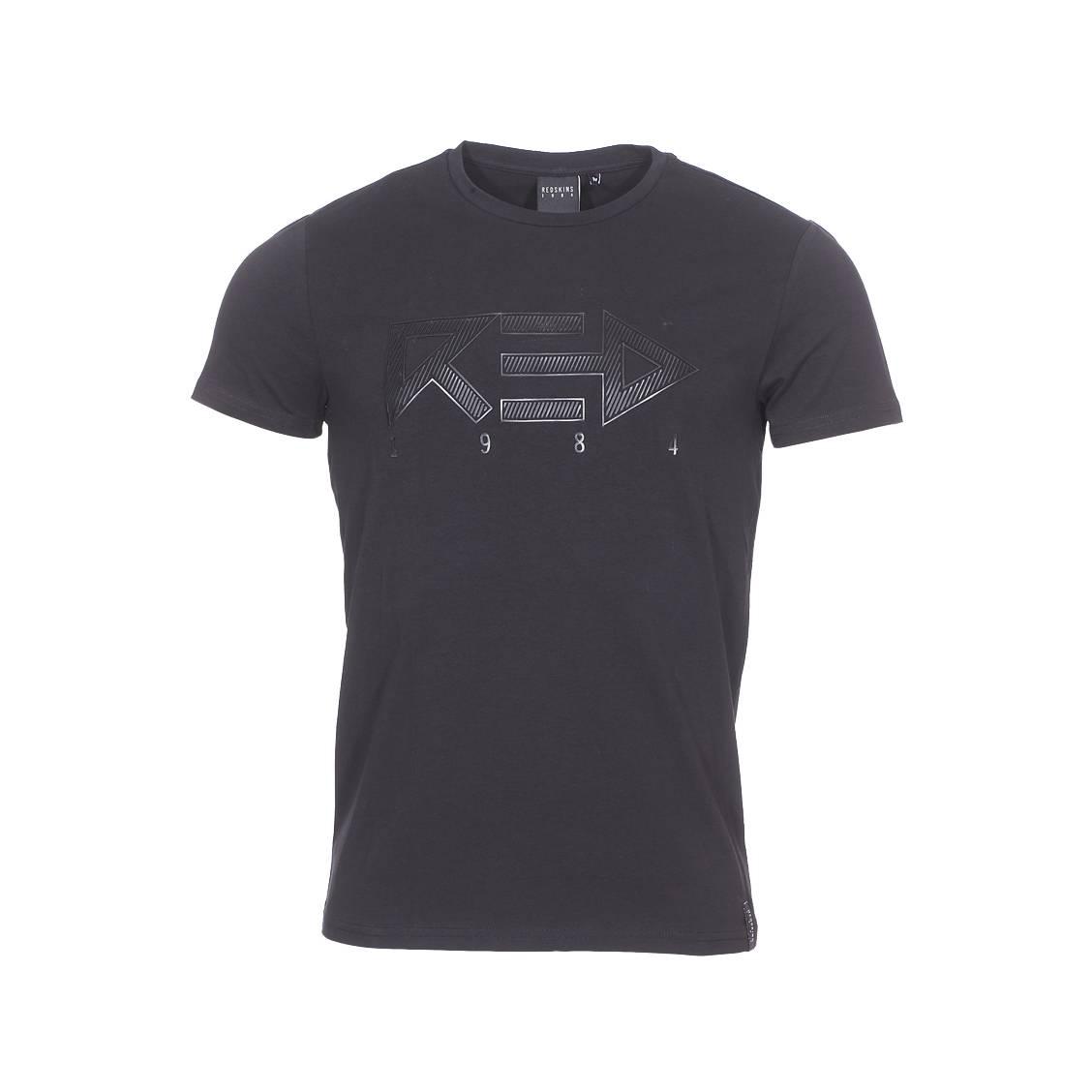 Tee-shirt col rond  blocker en coton stretch noir floqué