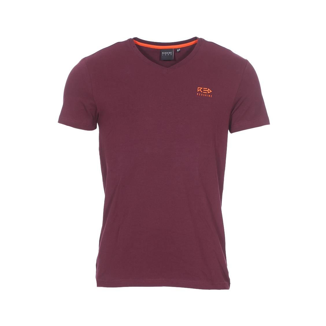 Tee-shirt col v  volter en coton stretch bordeaux floqué