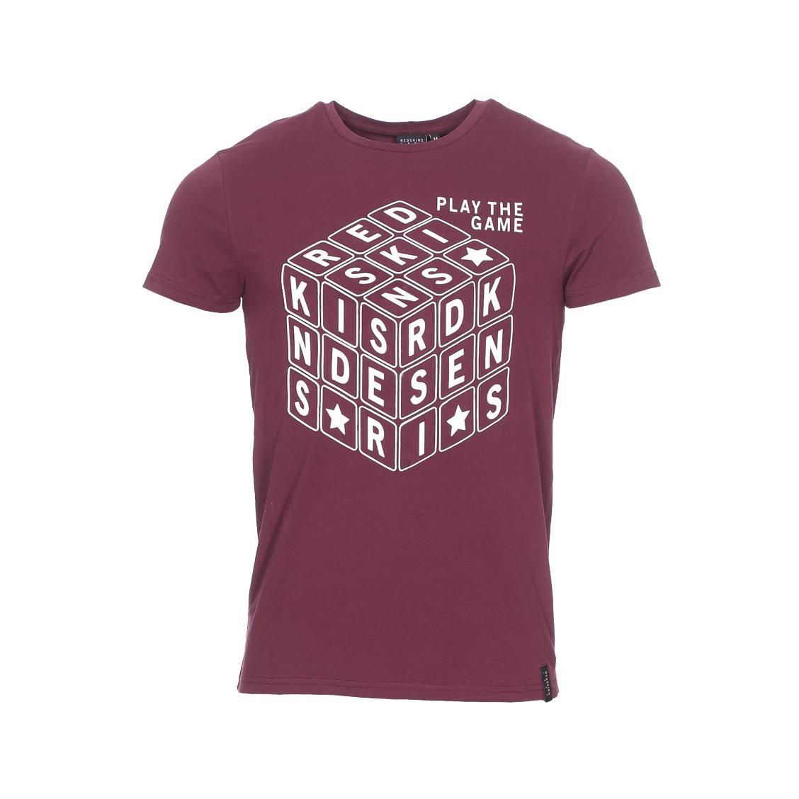 Tee-shirt col rond  dreker en coton stretch bordeaux floqué
