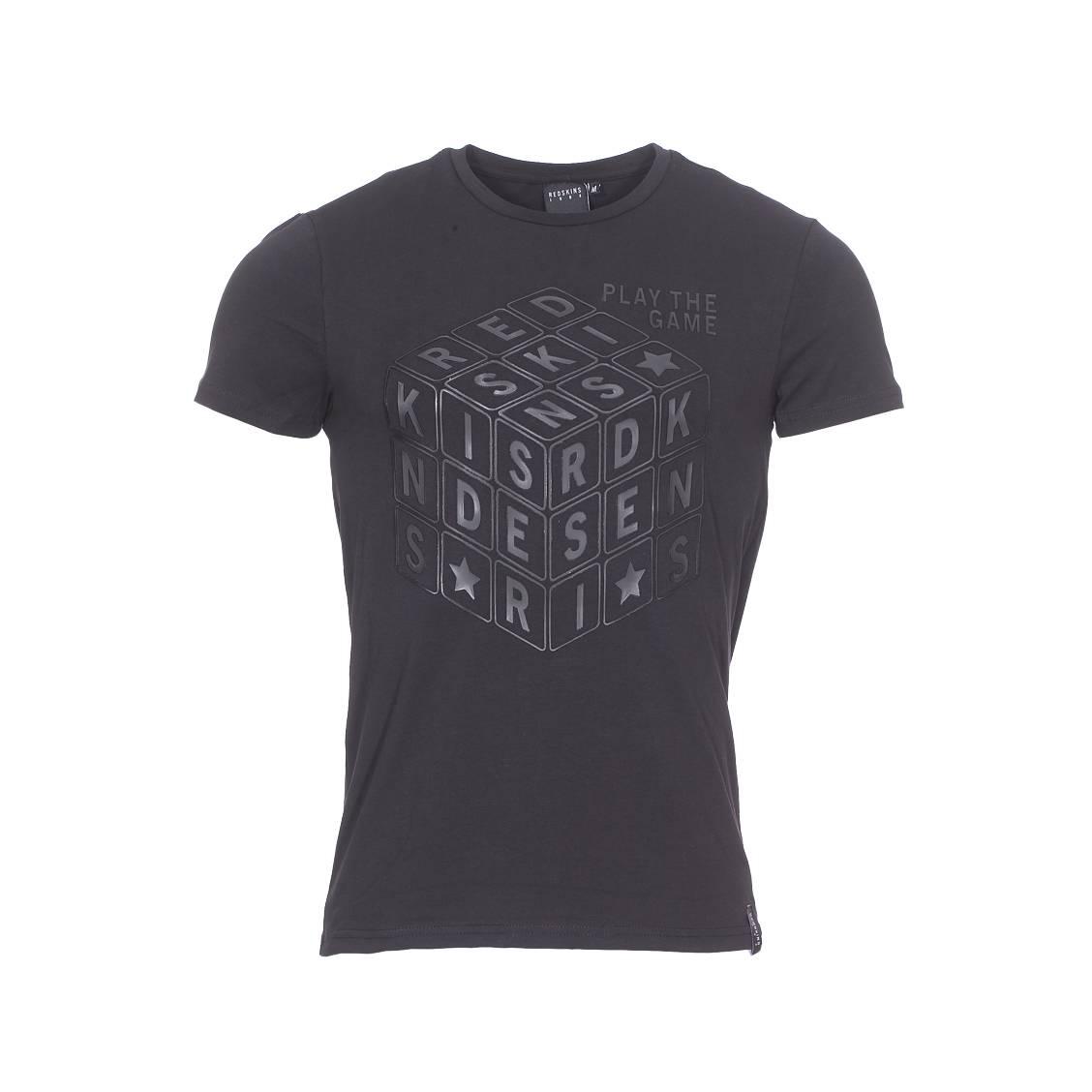 Tee-shirt col rond  dreker en coton stretch noir floqué