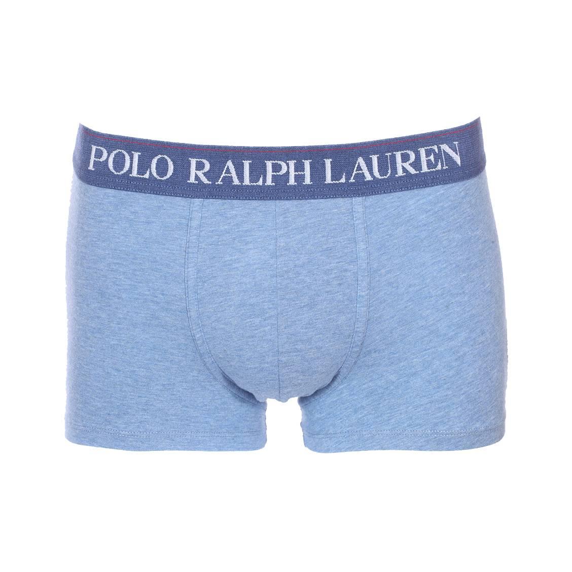 Boxer  en coton stretch bleu chiné à ceinture bleu indigo