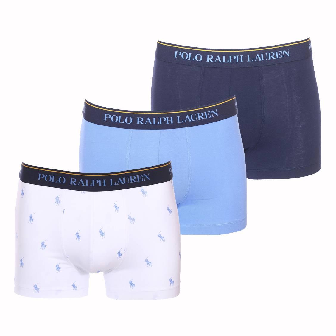 Lot de 3 boxers  en coton stretch bleu marine, bleu ciel et blanc logotypé