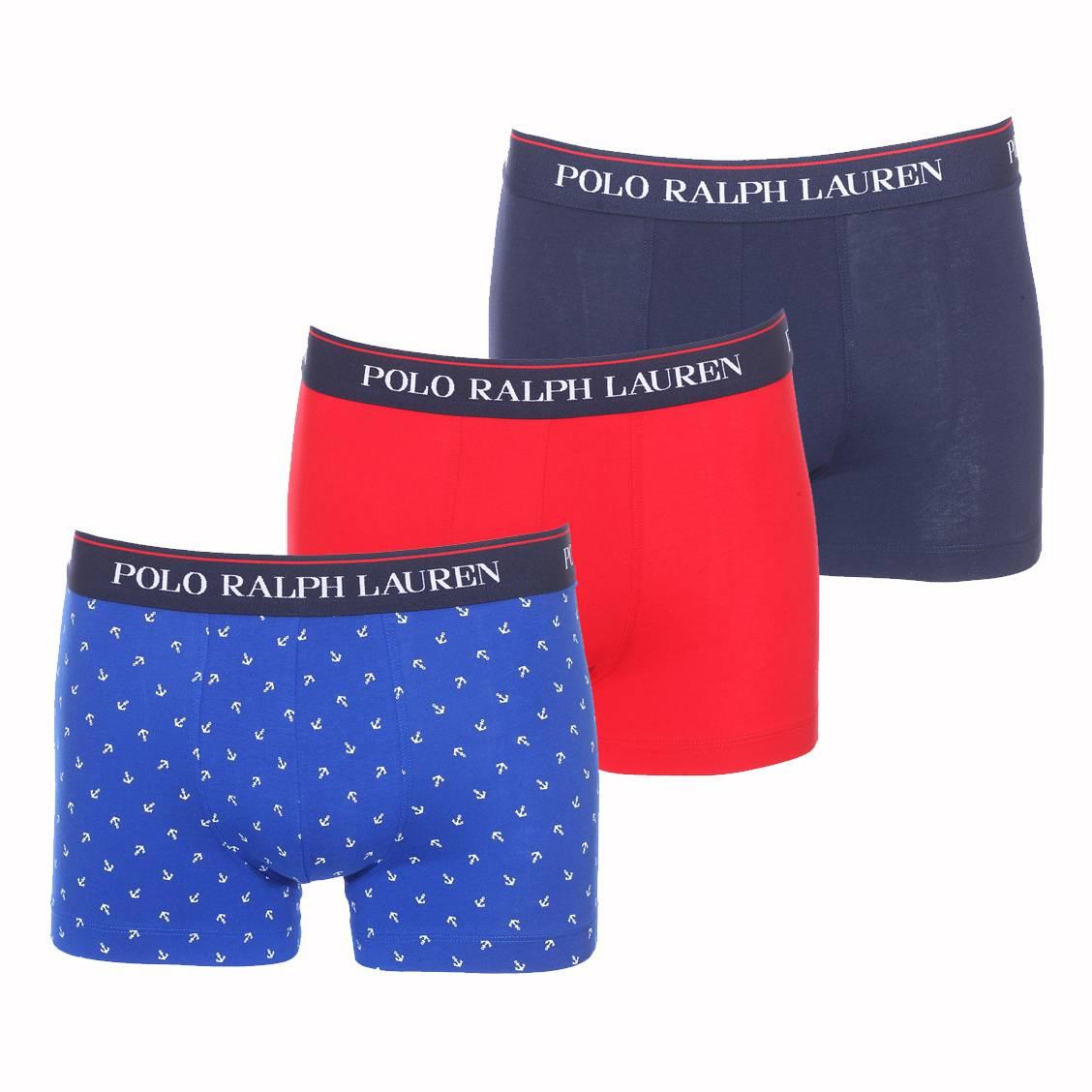 Lot de 3 boxers  en coton stretch bleu marine, rouge et bleu roi à ancres blanches