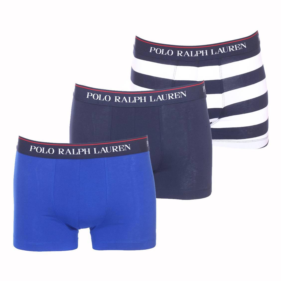 Lot de 3 boxers  en coton stretch bleu marine, bleu roi et bleu marine à rayures blanches