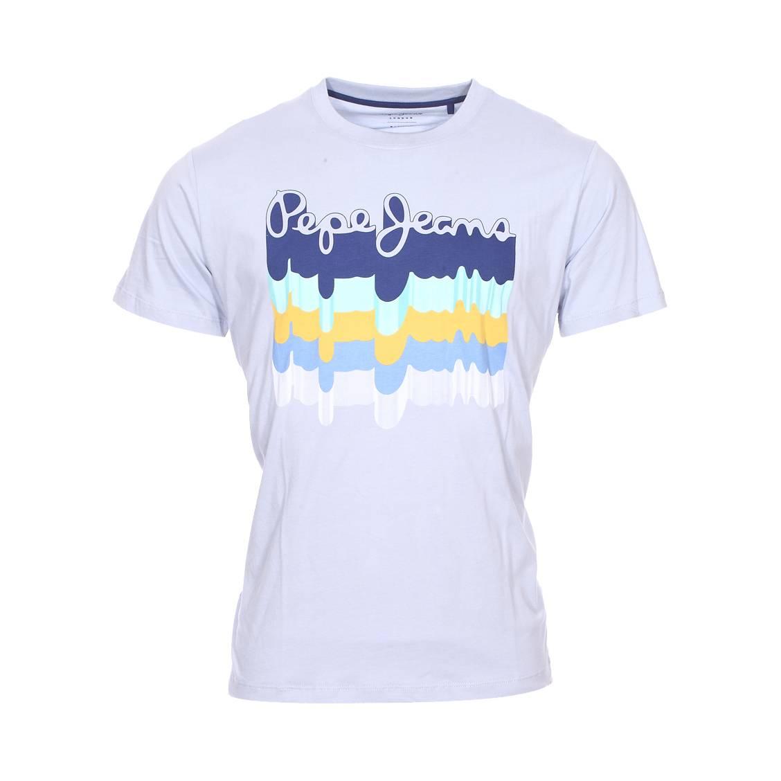 Tee-shirt col rond  liam en coton bleu ciel à flocage graffitis multicolores