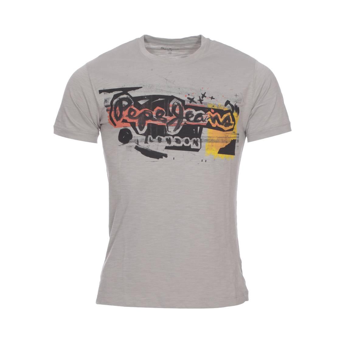 Tee-shirt col rond  amersham en coton gris flammé à flocage graffiti
