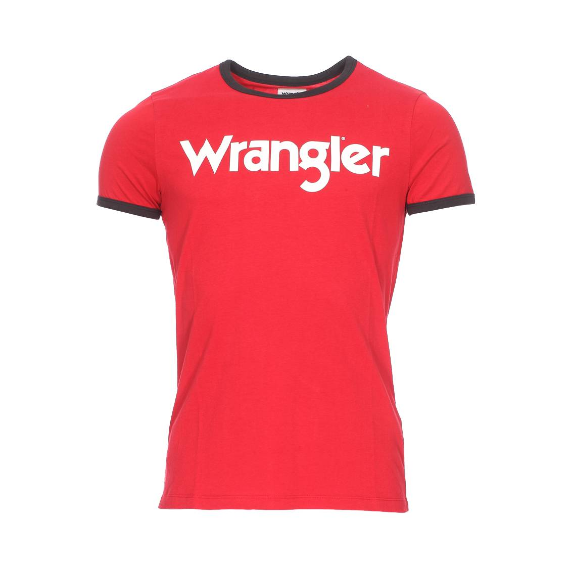 Tee-shirt col rond  kabel en coton rouge floqué en blanc