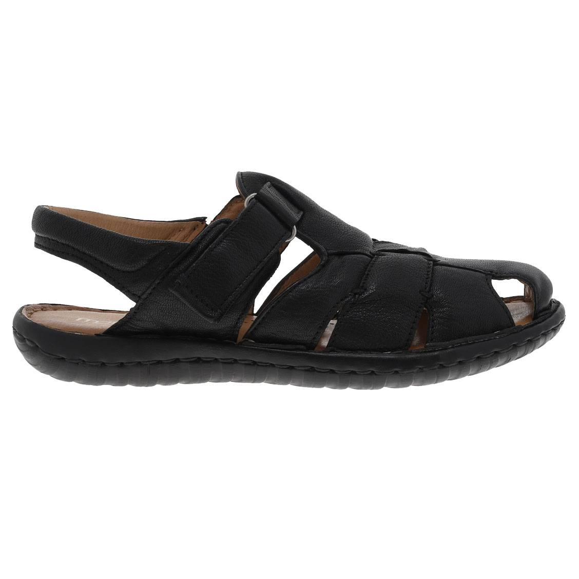 Sandales  en cuir véritable noir