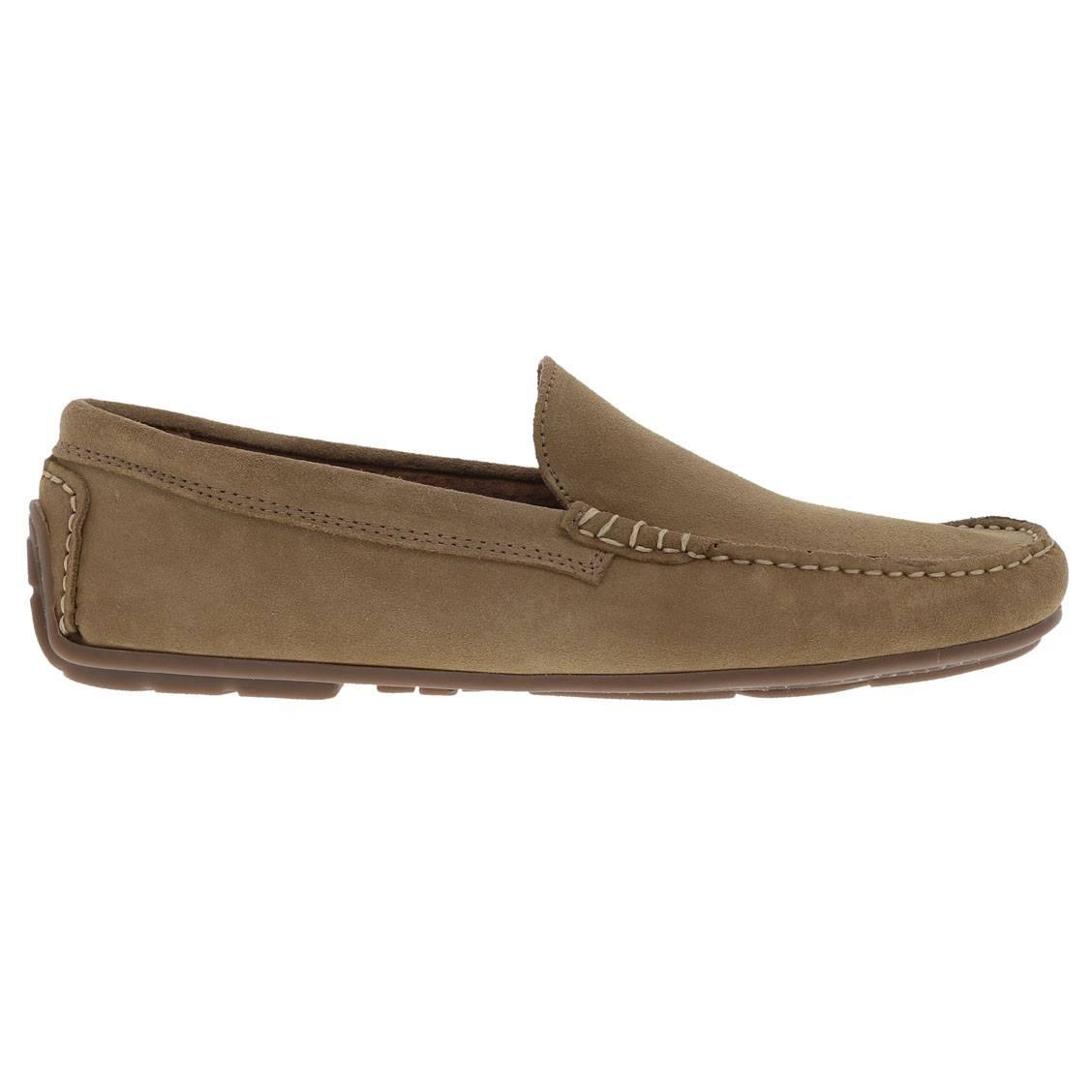 Chaussures bateau en croute de cuir taupe. Chaussures bateau en croute de cuir taupe