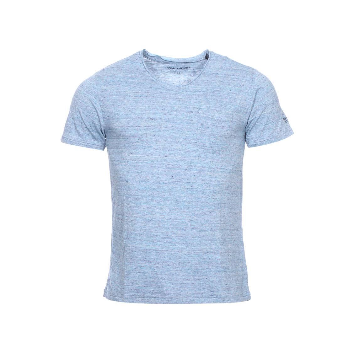 439b76a78b Tee-shirt col V Teddy Smith Tbill en coton mélangé bleu azur   Rue ...