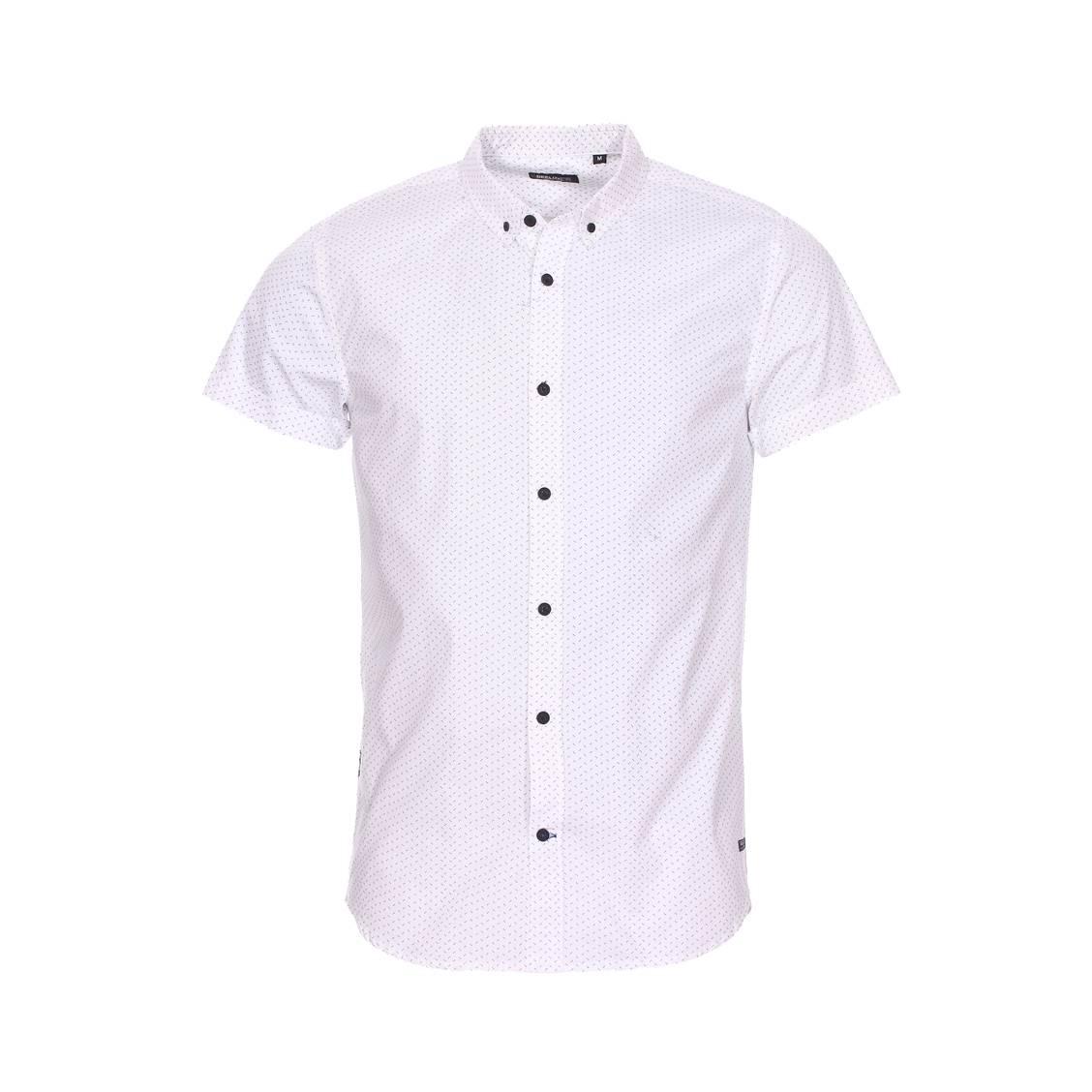Chemise cintrée manches courtes deeluxe dotzy en coton blanc à petits motifs noirs