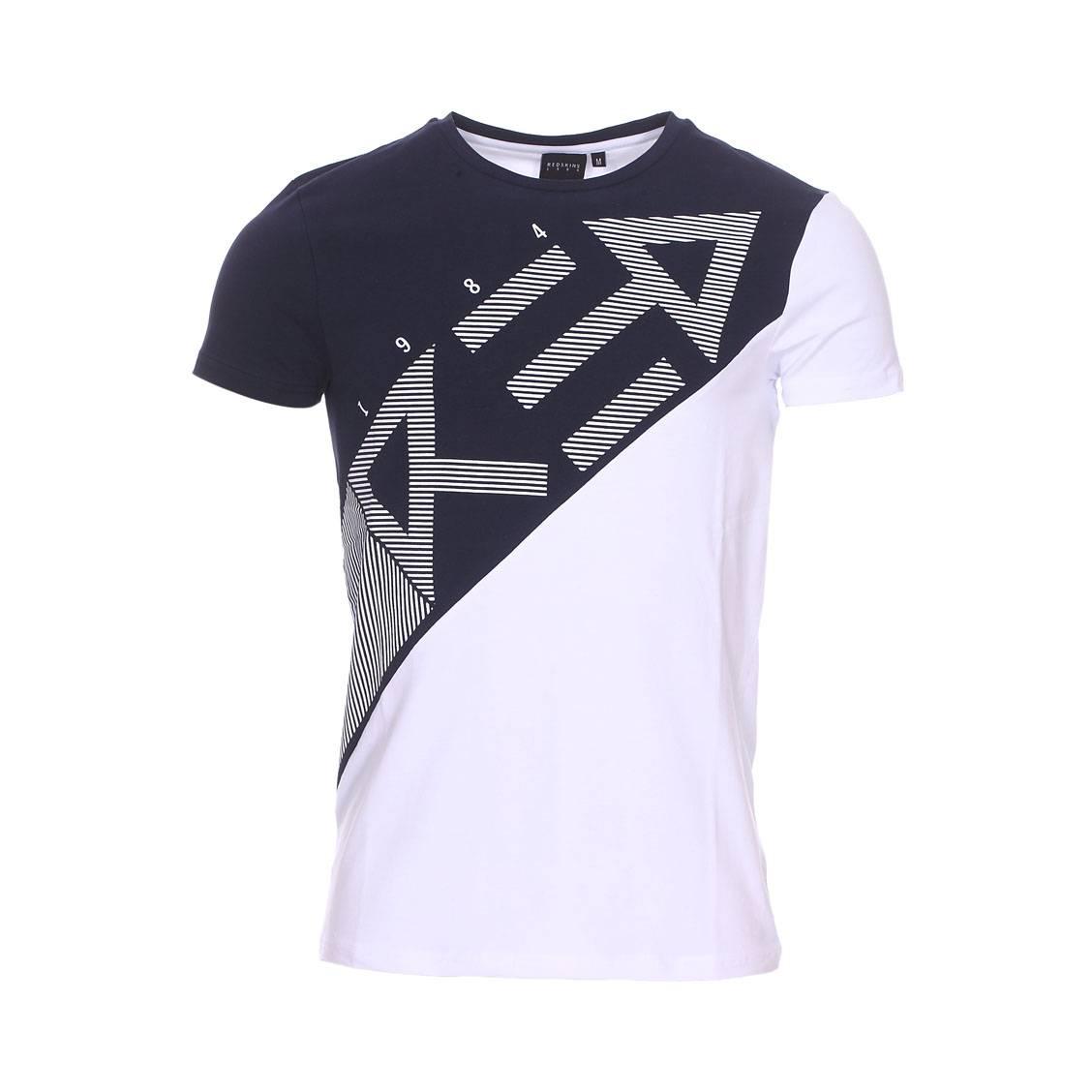 Tee-shirt col rond  en coton stretch blanc et bleu marine