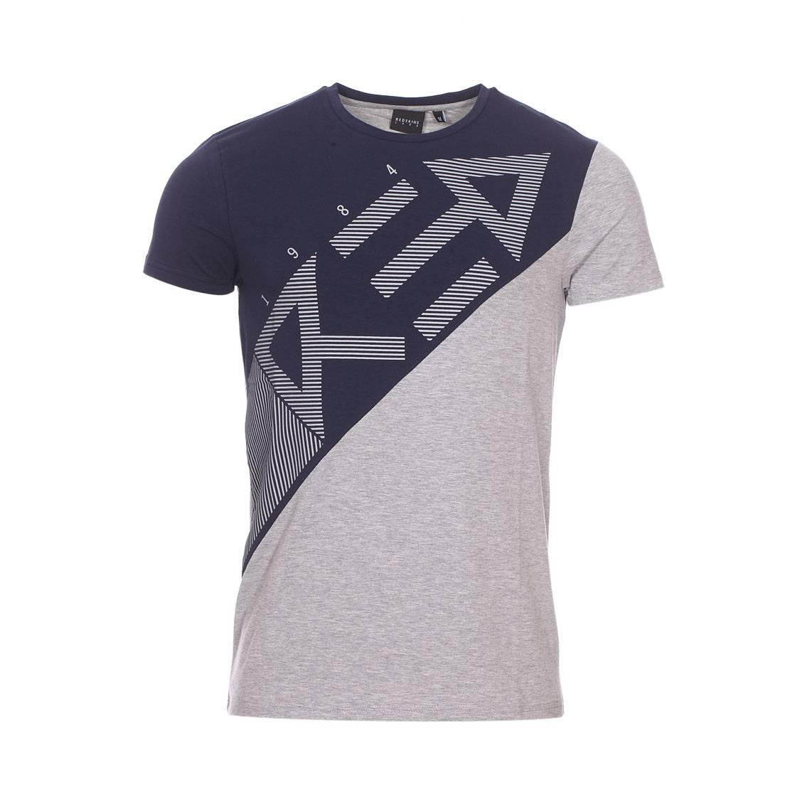 Tee-shirt col rond  en coton stretch gris chiné et bleu marine