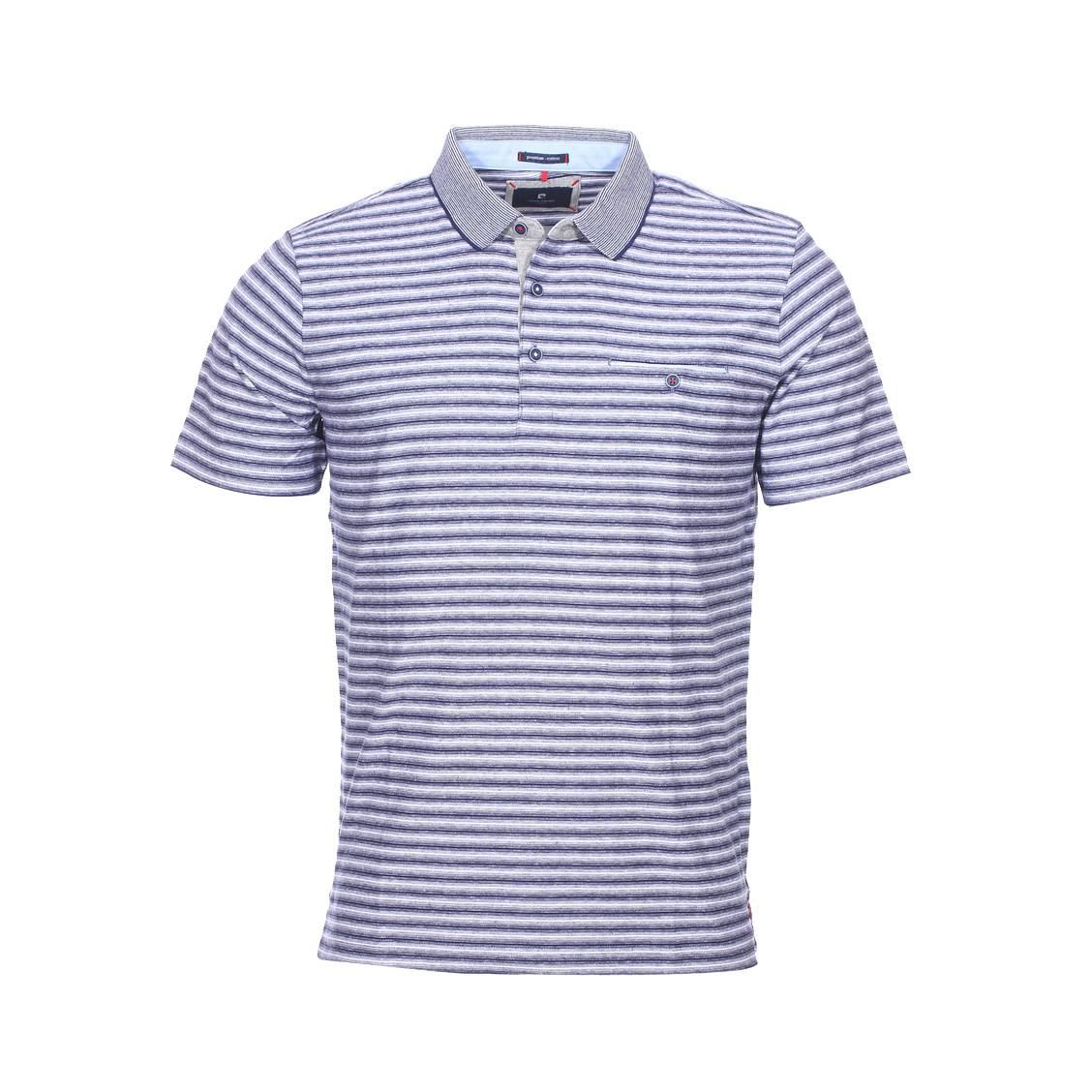 Polo  en coton à fines rayures bleu marine et blanches