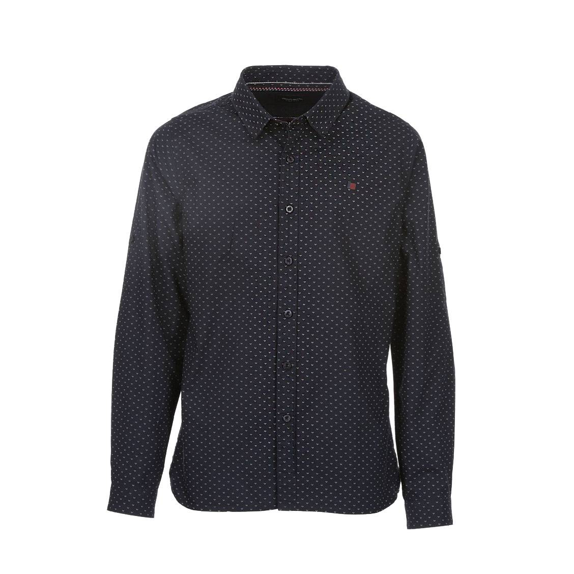 Chemise  clik en coton bleu marine à motifs blancs