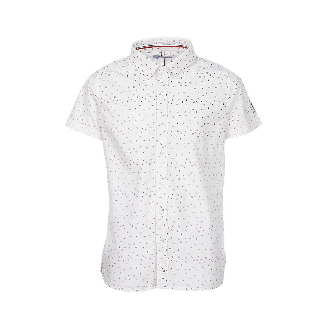 Chemise manches courtes  ckent en coton blanc à motifs rouges et bleu indigo