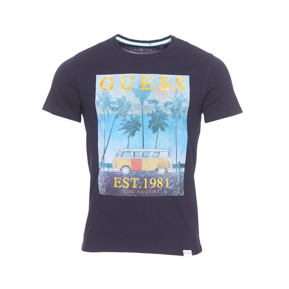 Tee-shirt col rond  on tour en coton bleu marine floqué