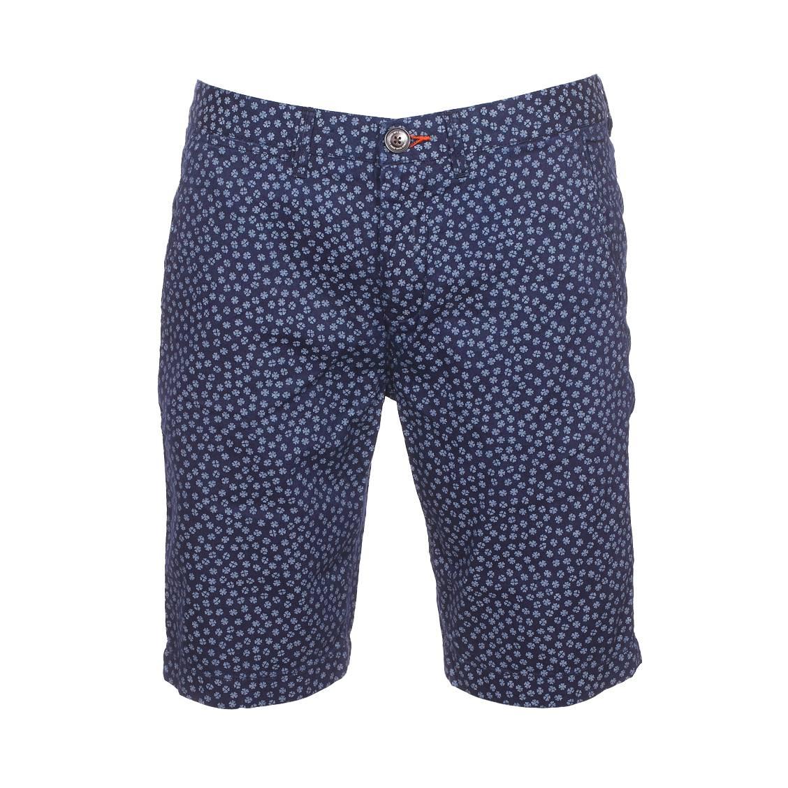Short  blackburn en coton bleu indigo à motifs