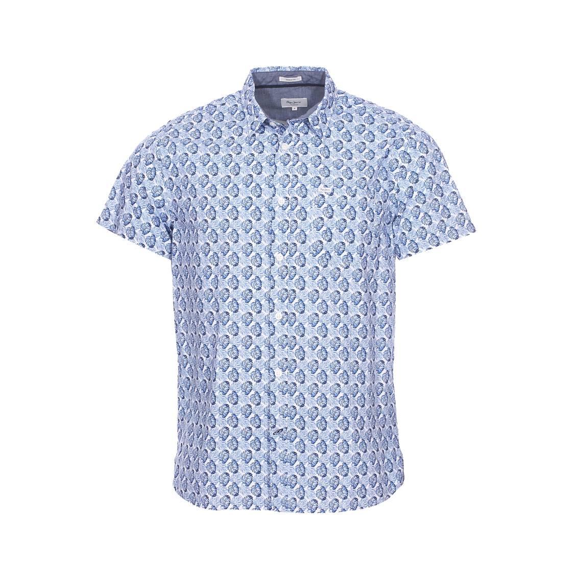 Chemise coupe droite manches courtes  carter en coton blanc à motifs feuilles bleues
