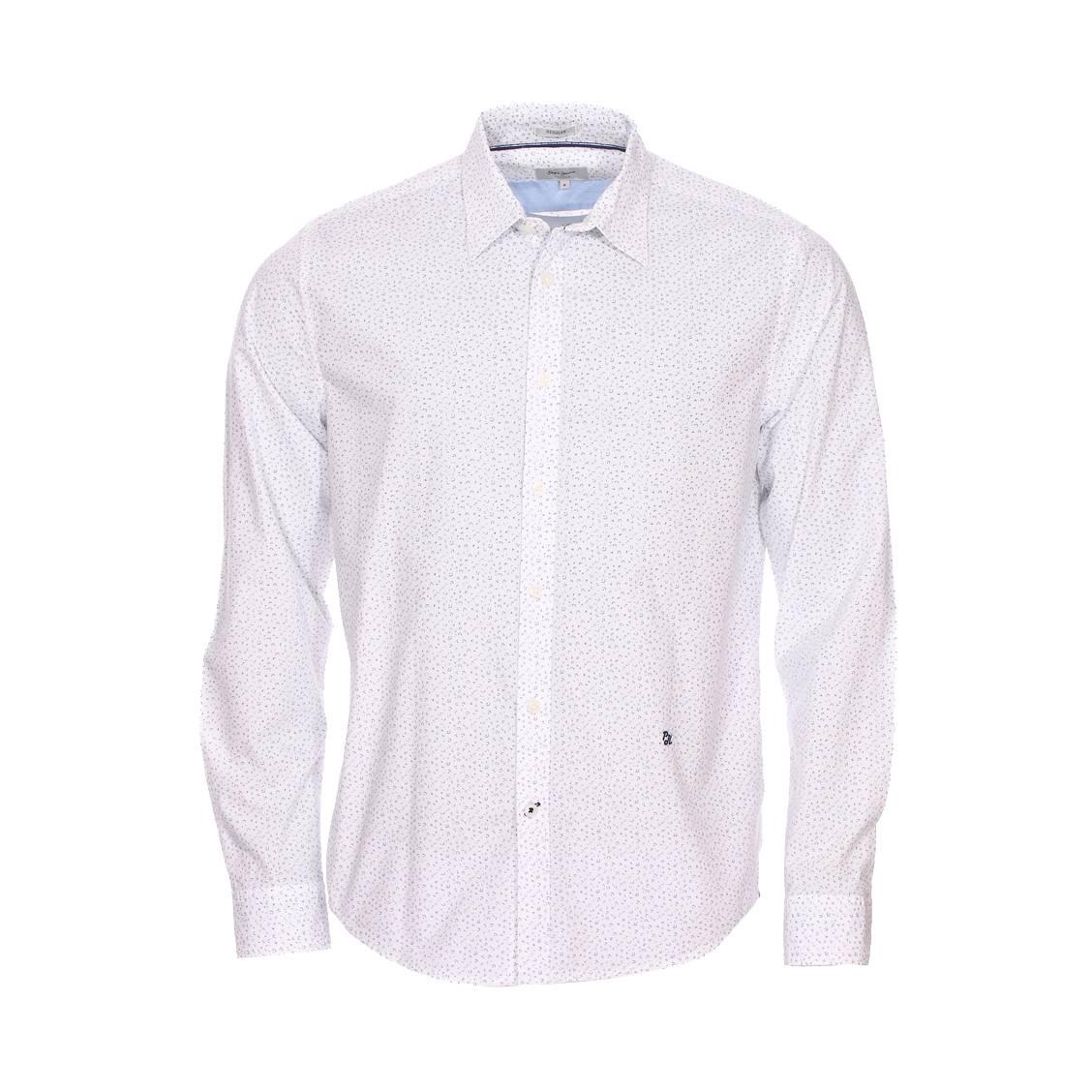 Chemise ajustée  darren en coton blanc à motifs bleus