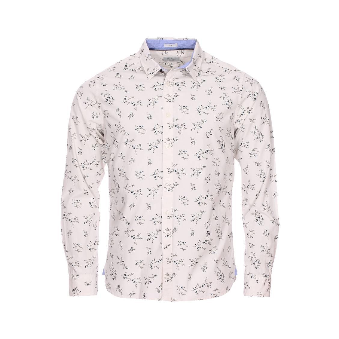 Chemise cintrée  dawson en coton blanc à motifs végétaux verts et bleus