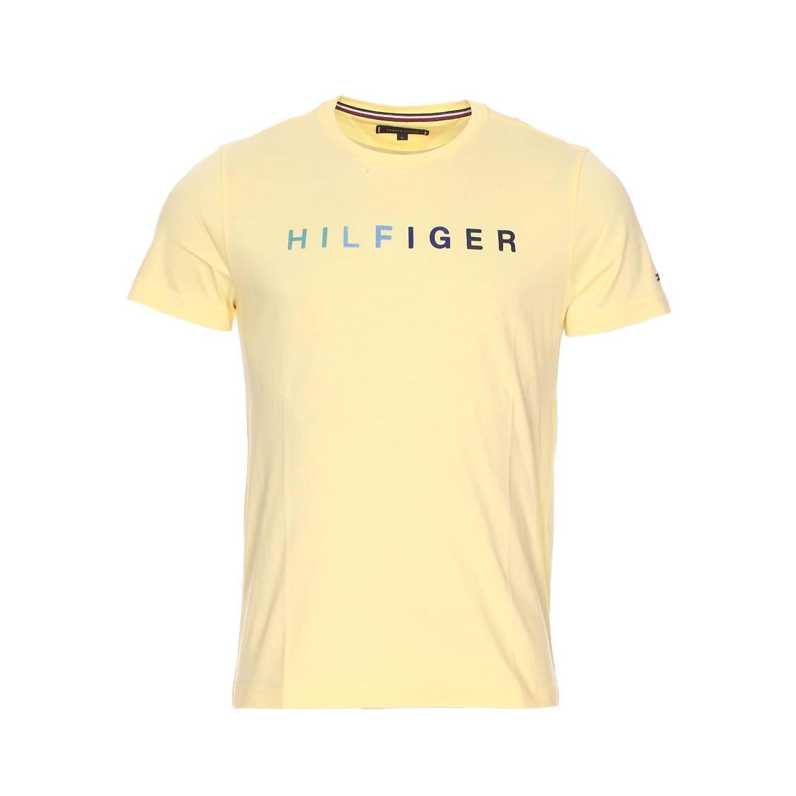 tee shirt col rond tommy hilfiger multi en coton jaune. Black Bedroom Furniture Sets. Home Design Ideas