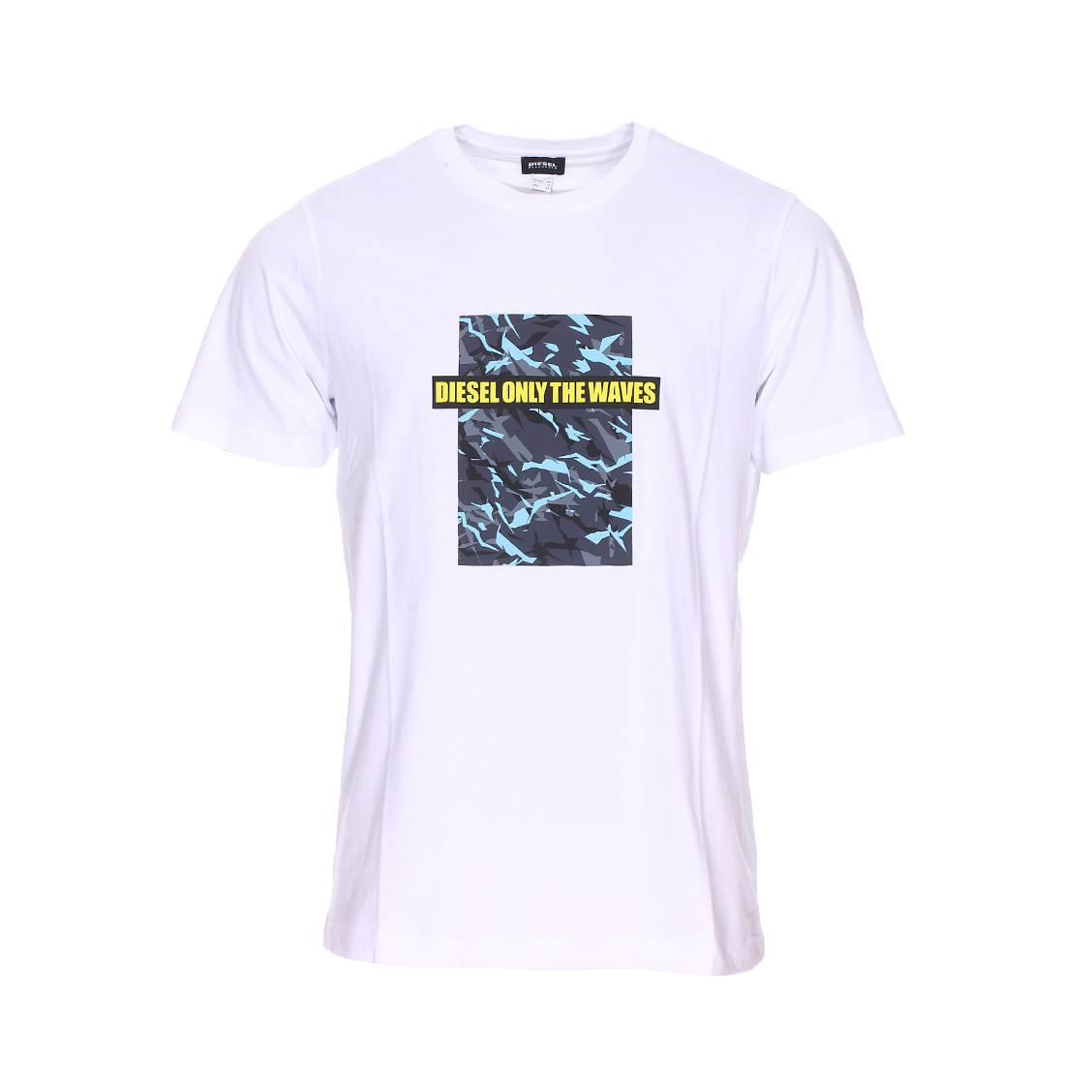 Tee-shirt col rond diesel just-b en coton blanc floqué d\'un imprimé camouflage