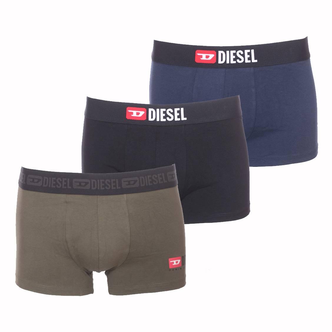 Lot de 3 boxers diesel damien en coton stretch noir, bleu pétrole et vert kaki