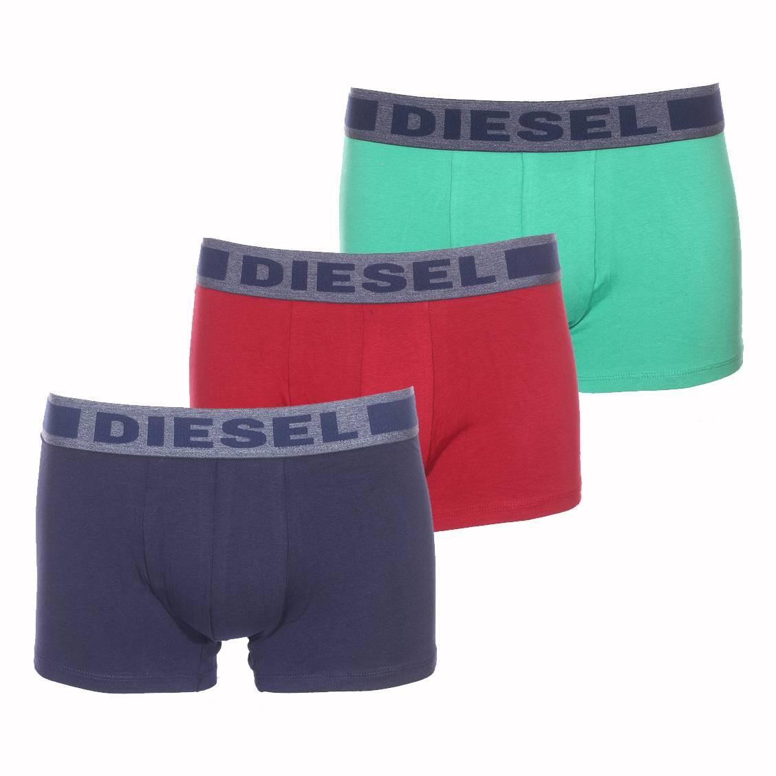 Lot de 3 boxers diesel damien en coton stretch vert, bordeaux et bleu marine