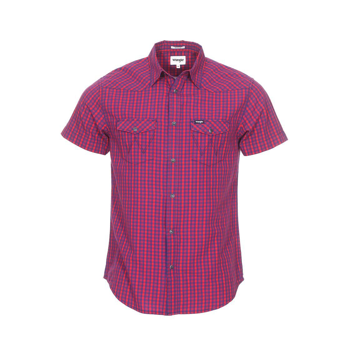 Chemise coupe droite manches courtes  en coton rouge et bleu à carreaux