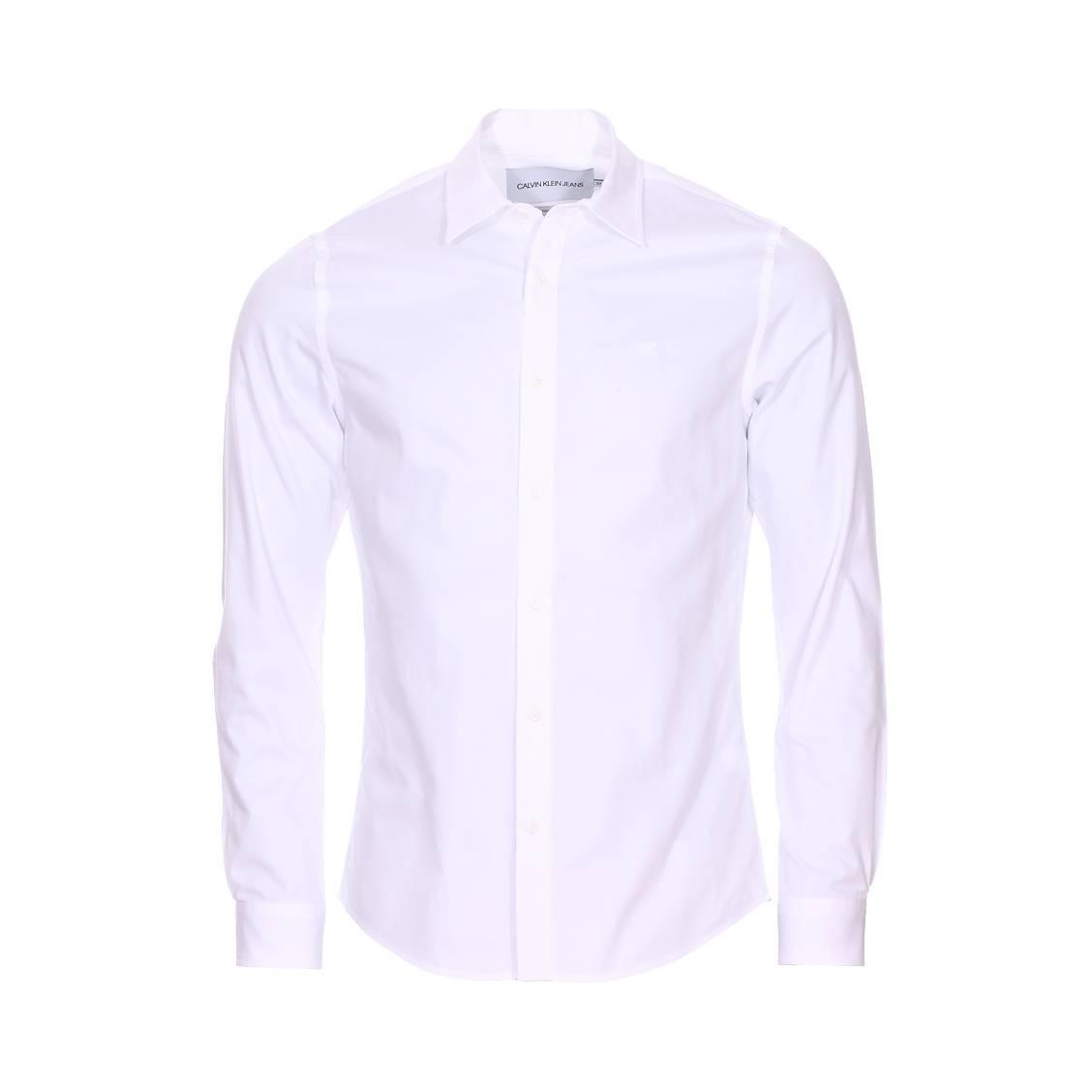 Chemise cintrée  embro twill en coton blanc brodée du logo